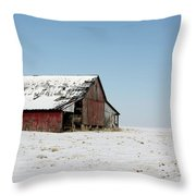 Old Barn And Snowy Prairie Throw Pillow