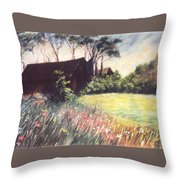 Old Barn And Wildflowers Throw Pillow