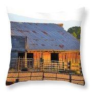 Old Barn At Sunset Throw Pillow