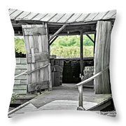 Old Barn At The Farm On Sunny Day Throw Pillow