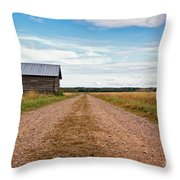 Old Barn By The Gravel Road Throw Pillow