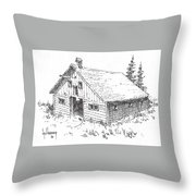Old Barn Cable Ghost Town Montana Throw Pillow