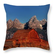 Old Barn Grand Tetons National Park Wyoming Throw Pillow by Dave Welling