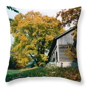 Old Barn In Autum Throw Pillow