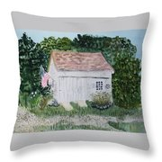 Old Barn In Eastham Ma Throw Pillow