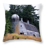 Old Barn In Field Throw Pillow by Athena Mckinzie