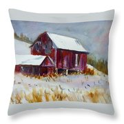 Old Barn In Snow Throw Pillow