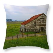 Old Barn In The Mustard Fields Throw Pillow
