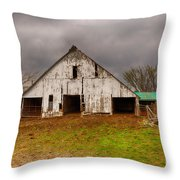 Old Barn In The Storm Throw Pillow
