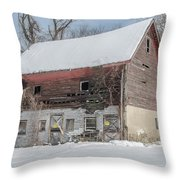 Old Barn In Upper Roxborough In The Snow Throw Pillow