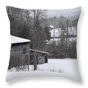 Old Barn In Winter Scenery Throw Pillow