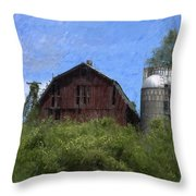 Old Barn On Summer Hill Throw Pillow