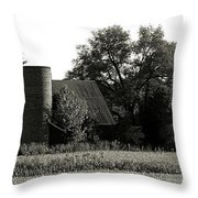 Old Barn Outbuildings And Silo  Throw Pillow