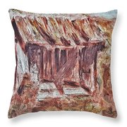 Old Barn Outhouse Falling Apart In Decay And Dilapidation Rotting Wood Overgrown Mountain Valley Sce Throw Pillow