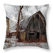 Old Barn Winter Throw Pillow