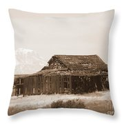 Old Barn With Mount Hood In Sepia Throw Pillow