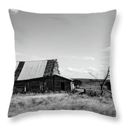 Old Barn With Tree Throw Pillow