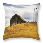Old Barn With Windmill Throw Pillow