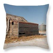 Old Barns And A Grain Bin Throw Pillow