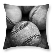 Old Baseballs In Black And White Throw Pillow by Edward Fielding