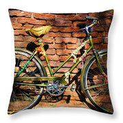 Old Bike And Bricks Throw Pillow