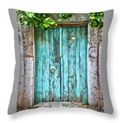 Old Blue Door Throw Pillow by Delphimages Photo Creations