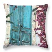 Old Blue Doors Throw Pillow