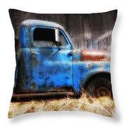 Old Blue Truck Throw Pillow by Ken Barrett