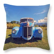 Old Blue Truck Vermont Throw Pillow