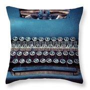 Old Blue Typewriter Throw Pillow