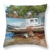 Old Boat At China Camp Throw Pillow