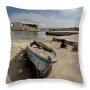 Old Boat In Crete Throw Pillow