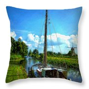 Old Boat In Holland Throw Pillow