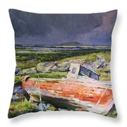 Old Boat On Shore Throw Pillow