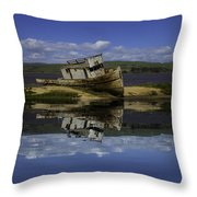 Old Boat Reflection Throw Pillow