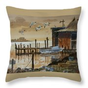 Old Boathouse Throw Pillow