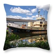 Old Boats Along The Exeter Canal 2 Throw Pillow