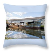 Old Boats Along The Exeter Canal Throw Pillow