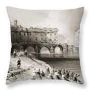Old Boats Bridge, Limerick, Ireland Throw Pillow