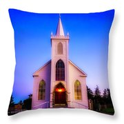 Old Bodega Church Sunset Throw Pillow