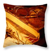 Old Books And Glasses Throw Pillow by Garry Gay