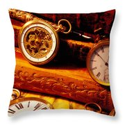 Old Books And Pocket Watches Throw Pillow