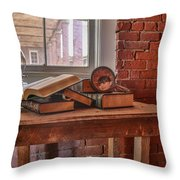 Old Books In Old Classroom Throw Pillow