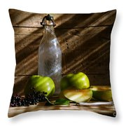 Old Bottle With Green Apples Throw Pillow