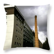 Old Brick Chimney Amongst Modern Office Buildings Near The Railway Station Perugia Umbria Italy Throw Pillow
