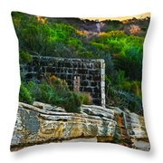Old Brick Fence Built To The Edge Throw Pillow