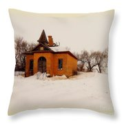 Old Brick Schoolhouse In Winter Throw Pillow