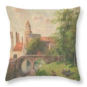 Old Bridge In Bruges  Throw Pillow by Camille Pissarro