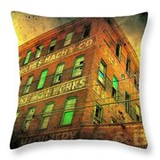 Old Empty Building In Retro Colors Throw Pillow