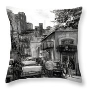 Old Buildings And Cars In Havana - V2 Throw Pillow